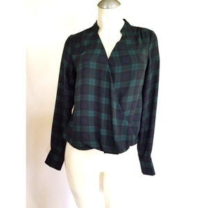 The Limited Size XS Blue Green Plaid Blouse Top